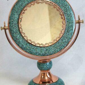 آینه گرد فیروزه کوب مسی